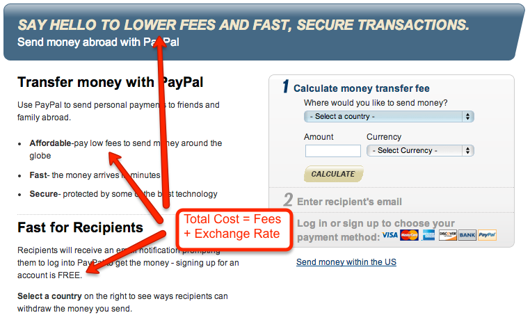 Fees for over money transfer services are only part of the cost