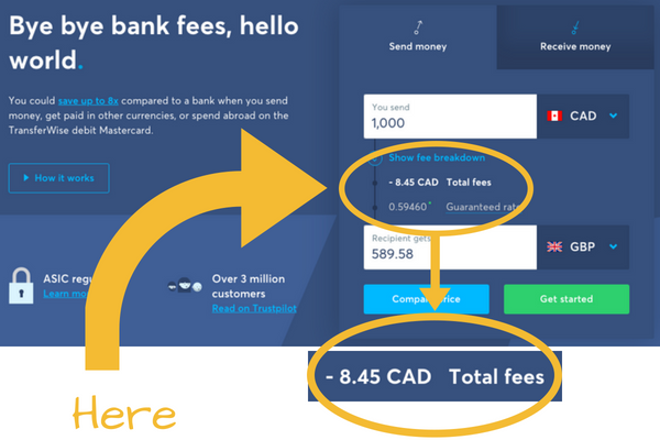Transferwise Transparent Fees